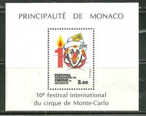 Monaco MNH S/S 1446 10th International Circus Festival Clown