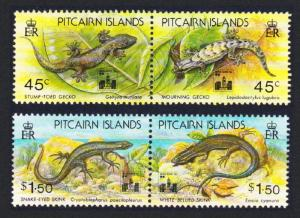 Pitcairn Lizards 2 Pairs overprinted SG#442-445 SC#396a+398a