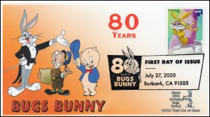 20-216, 2020, SC 5498, Bugs Bunny, First Day Cover, Pictorial Postmark, 80th Ann