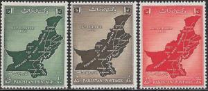 Pakistan 79-81 MNH - Map of West Pakistan