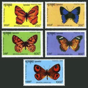 Cambodia 1278-1282,1283,MNH.Michel 1354-1359. BRAZILIANA-1993.Butterflies.
