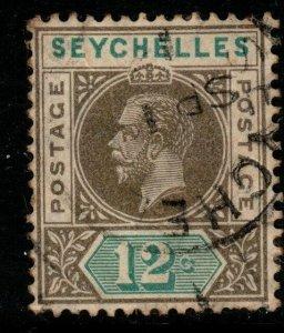 SEYCHELLES SG74 1913 12c OLIVE-SEPIA & DULL GREEN USED