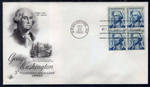 US 1283 George Washington Block of Four Artcraft U/A FDC