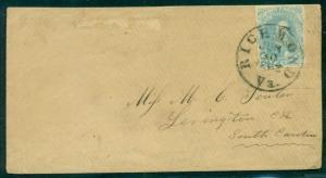 CONFEDERATE STATES 1862 5¢ (#4b) tied RICHMOND VA last day of 5¢ rate, Civil War