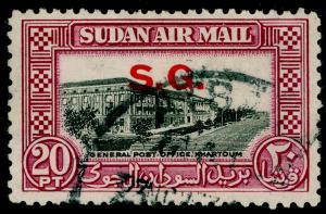 SUDAN SGO66, 20p black & purple, FINE USED. Cat £12.