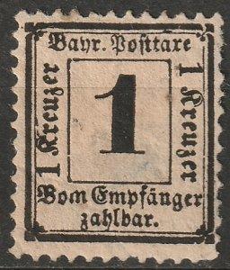 Bavaria 1870 Sc J2a postage due MH* disturbed gum/stain