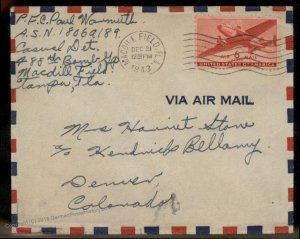 USA WWII APO Airmail Military Mail Cover 93803