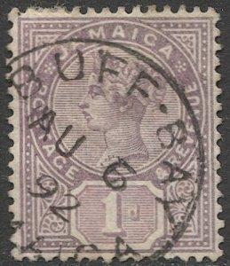 JAMAICA 1889 Scott 24  1d  Used VF,  SON Buff Bay postmark/ cancel