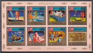 Ajman, Mi cat. 2669-2676 B. Apollo 11-17 Space issue. Pink IMPERF sheet. ^