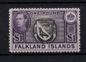 Falkland Islands KGVI 1938 £1 violet & black fine mint LHM SG163 WS22222
