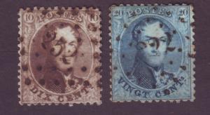 J21284 Jlstamps 1863-5 belgium used #14-5 king