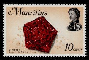 MAURITIUS QEII SG386, 1969 10c scarlet, black & flesh, NH MINT.