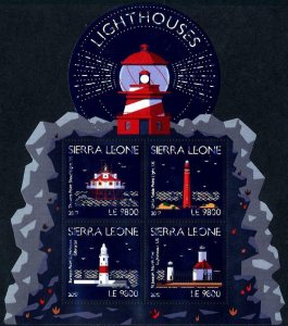 HERRICKSTAMP NEW ISSUES SIERRA LEONE Sc.# 4417 Lighthouse Shaped Sheetlet