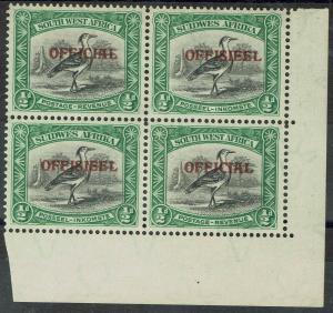 SOUTH WEST AFRICA 1945 OFFICIAL 1/2D BIRD BLOCK MNH **