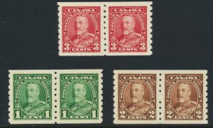 CANADA 1935, PERF 8 COIL SET (PAIRS), VF MNH Sc#228-30 CAT$128 (SEE BELOW