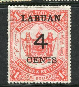 LABUAN; 1895 early surcharged $1 value unused 4c. value