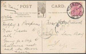 NEW SOUTH WALES TO FIJI 1906 postcard ex Sydney - Suva / Levuka cds.........D883