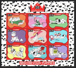 Gambia. 1997. Small sheet 2699-2707. 101 Dalmatians, Disney cartoons. MNH.