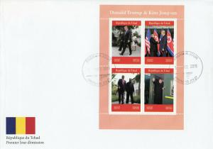 Chad 2019 FDC Donald Trump & Kim Jong-un 4v M/S Cover US Presidents Stamps
