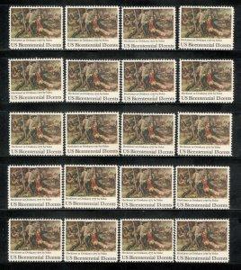 1722 Battle Of Oriskany Wholesale Lot Of 20 US Singles Mint/nh FREE SHIPPING