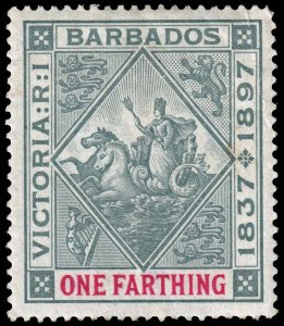 Barbados  - Scott 81 - Mint-Hinged - Damaged Corner
