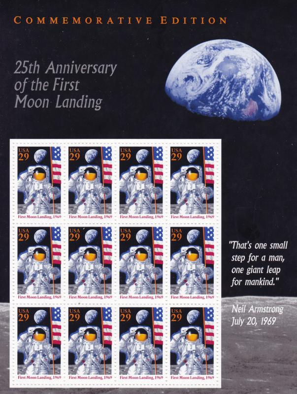 United States 1994 Scott 2841 Sheet of 12. 25th Anniversary First Moon Landing