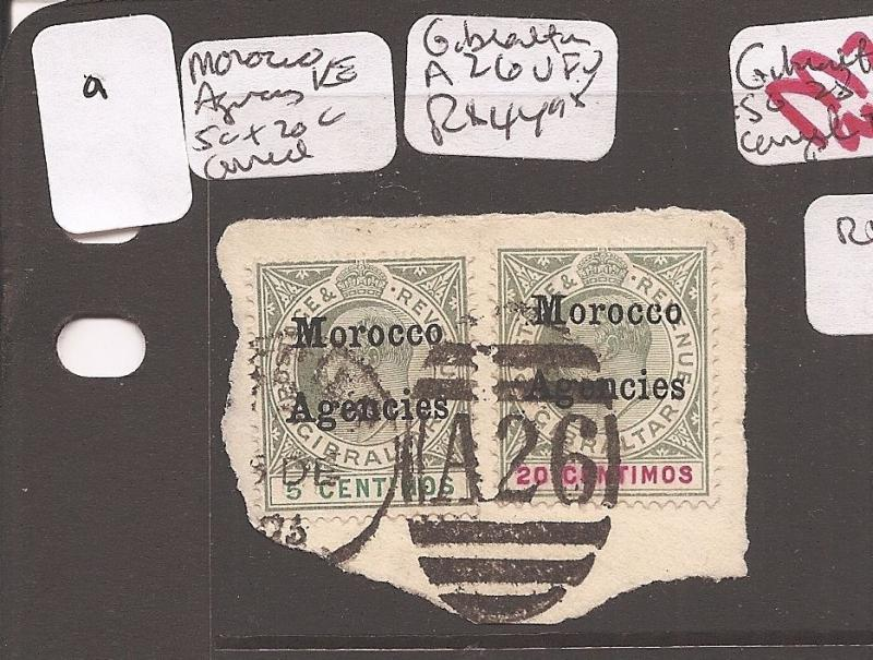 MOROCCO (0707a) ON GIBRALTAR 5C+20C PIECE CAN A26  VFU