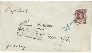 Sierra Leone 1912 Freetown cancel on registered cover to Germany