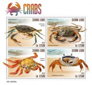 SIERRA LEONE - 2019 - Crabs - Perf 4v Sheet - MNH
