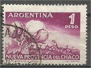 ARGENTINA, 1956, used 1p, Cotton plant Scott 655