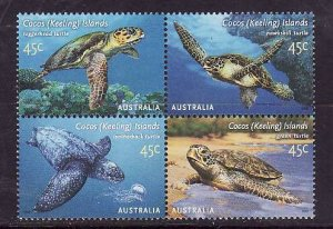 Cocos (Keeling) Is.-Sc#336-unused NH set-Turtles-Marine Life-2002-
