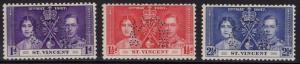 ST.VINCENT SG146/8s 1937 CORONATION SET PERF SPECIMEN MTD MINT