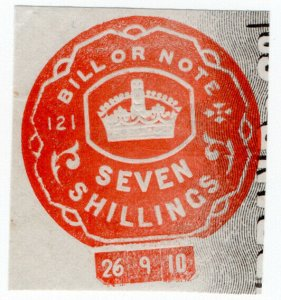 (I.B) Edward VII Revenue : Bill or Note 7/- (Impressed Duty)