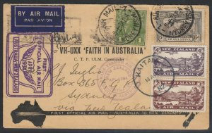 Australia Apr. 3, 1934 First Flight to New Zealand and Return, Pilot signed!