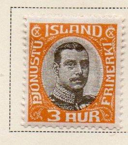 Iceland Sc  O40 1920 3 aur Christian X Official stamp mint