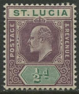 St. Lucia - Scott 43 - KEVII - Definitive -1902 - MLH -Single 1/2p Stamp