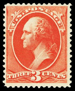 Scott 214 1887 3c Vermilion Washington Issue Mint F-VF OG Small HR Cat $60