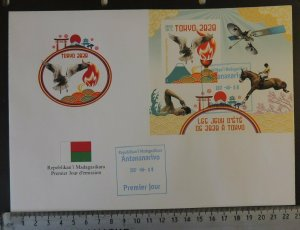 Madagascar 2017 large format FDC tokyo 2020 olympics sport swimming flags