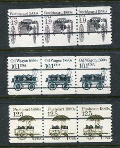 US #2124a, 2130a, 2133a Transportation MNH Strips of 3