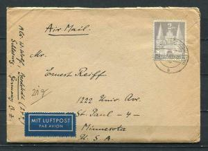 Germany 1949 Cover sent USA MI 98 Iwg Single usage Letter inside CV 300euro 2497