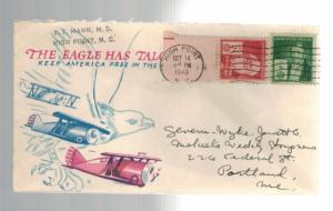 1940 USA Patriotic Cover High Point NC The Eagle Has Talons Keep America Free