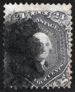 US Sc 78 Used Cork Cancel 24¢ Lilac