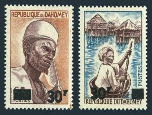 Dahomey 232-233,MNH.Mi 304-305.Ganvie woman in canoe,Bariba chief.New value 1967