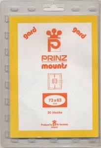 Prinz Scott Stamp Mount 73/63 mm - CLEAR (Pack of 30) (73x63  63mm)  PRECUT  913