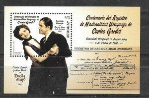 URUGUAY 2020 MUSIC TANGO CARLOS GARDEL SINGER FILM SCENE SOUVENIR SHEET MNH