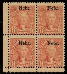 #678 VAR 9¢ NEBR. BLK/4 W/ MAJOR OVERPRINT SHIFT ERROR MINT OG NH RARE BU3178
