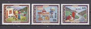 Bhutan, Scott cat. 267, C37-C38. Postal Values SURCHARGED. ^