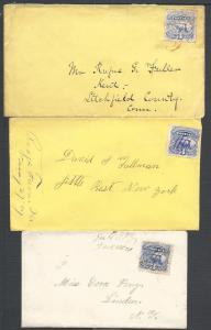 Scott #114(3), Three envelopes, 1869 Issues