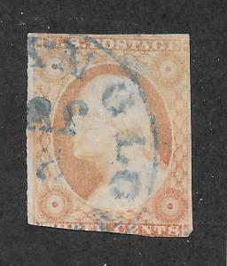 11 Used 3c. Washington, Blue Cancel, scv: $16