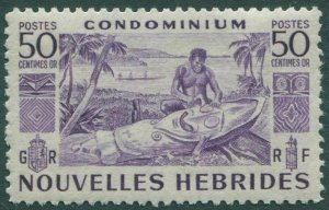 New Hebrides French 1953 SGF88 50c violet Native Carving MNH